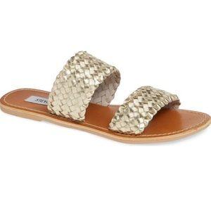 Steve Madden Gold sandals size 9.5. NEVER WORN.